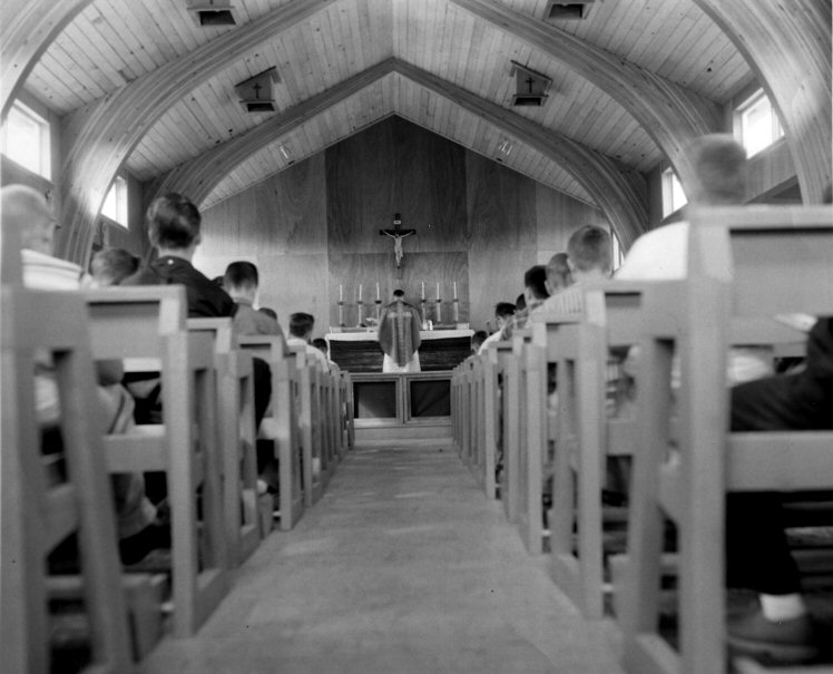 Campers in chapel 1950s